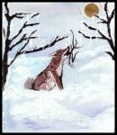 Coyote howling at the moon. Painting courtesy of Tansy Phillips.