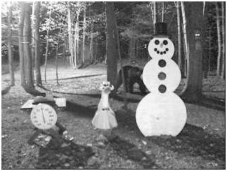 Bear wandering around behind the snowman. Picture sent in by Jack Aumann from Sunrise Florida. 5-09-08