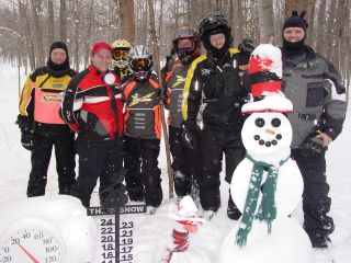 Snowmobilers from mid-Michigan and Atlanta Georgia  visit the Snowman Cam.