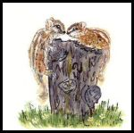 Two chimpmunks on a stump. Painting courtesy of Tansy Phillips.