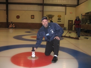 Little snowman, with yours truly, at the Detroit Curling Club in Ferndale Michigan. Photo by Richard Guccini.