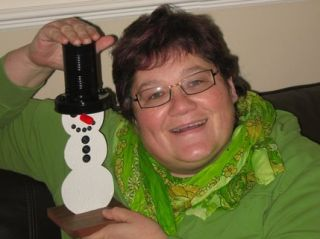Gayle McGoldrick from Tiverton, Devon UK with here Snowman Cam model. See more pictures of the Snowmans arrival in the UK.