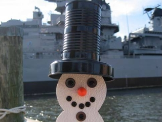 Snowman visits the battleship USS Wisconsin in Norfolk Virginia December 4, 2008. Photo courtsey of Ann Kirk.