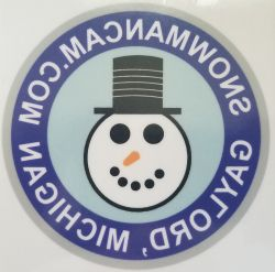 Round Snowman Cam Decal for mounting to an inside surface of glass.